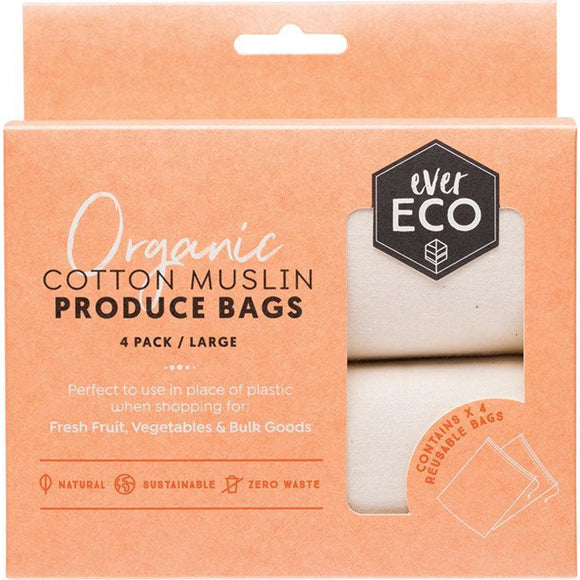 Ever ECO Organic Cotton Muslin Produce Bags 4 pack / Large
