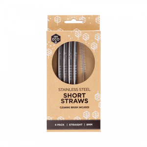 Ever Eco Stainless Steel Short Straws Straight 4 pack + brush
