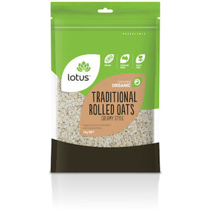 Lotus Organic Creamy Style Traditional Rolled Oats 1kg