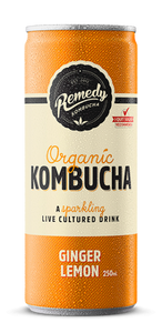 Remedy Kombucha Ginger & Lemon 4x250ml cans