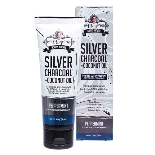 My Magic Mud Silver Charcoal + Coconut Oil Whitening Toothpaste Peppermint - 113g