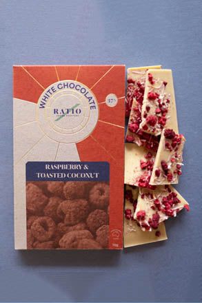 Ratio Cocoa Roasters Raspberry & Toasted Coconut White Chocolate - 70g