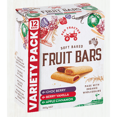 Red Tractor Fruit Bars variety pack - 12 bars 360gm (contains soy lecithin)