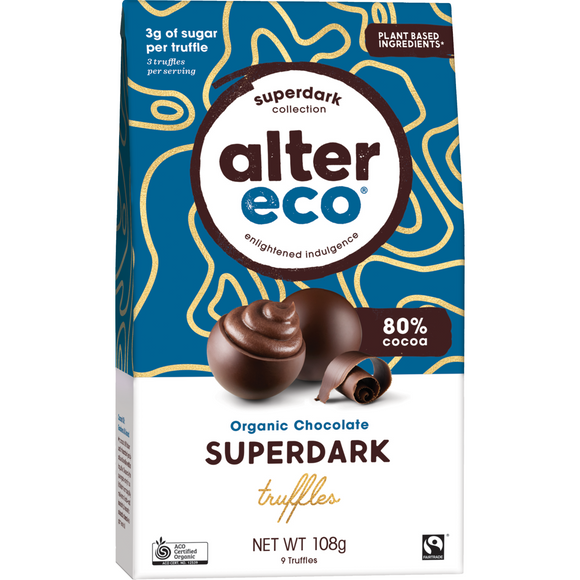 Alter Eco Dark Chocolate Organic Superdark Cacao Truffles 108g