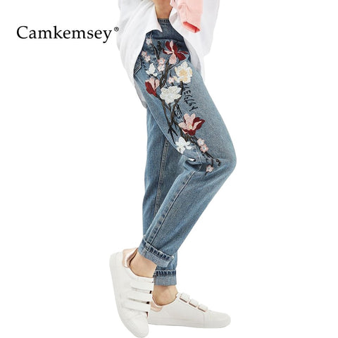 CamKemsey Plus Size High Waist Jeans Woman Spring Autumn Vintage Flower Embroidery Jeans Female Casual Mom Pants Denim Trousers