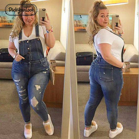 Women Plus Size Overalls Denim Jumpsuit Blue Fashion Strap Lady Bodysuit Backless Large Size Female Body Rompers