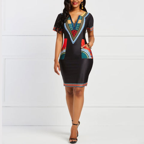 Women Office Dress African Ethnic Print Stylish Brand Summer Black Elegant Work Wear Casual Pockets Ladies Sexy Bodycon Dresses