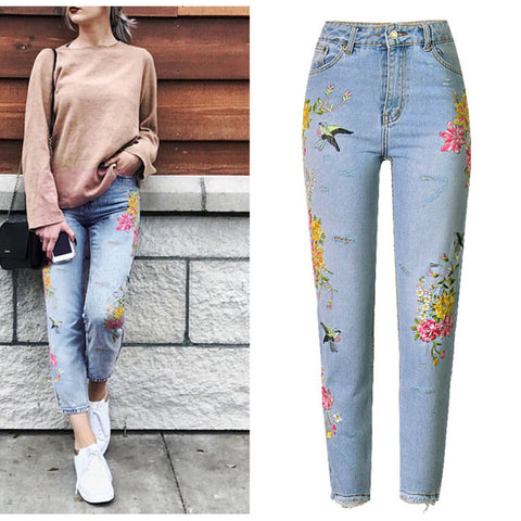 New Fashion Jeans Women's Clothing 3D Floral Embroidery Denim Pants High Waist Straight Vintage Ripped Ladies Slim Jean Trousers