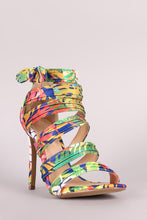 Load image into Gallery viewer, Liliana Bow Accent Strappy Ruched Stiletto Heel
