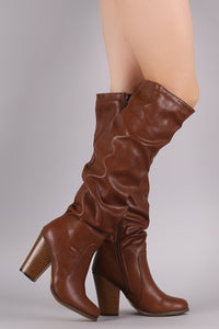 Slouchy Chunky Heeled Knee High Boots
