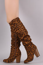 Load image into Gallery viewer, Slouchy Chunky Heeled Knee High Boots