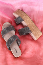 Load image into Gallery viewer, Qupid Double Rhinestone Straps Open Toe Cork Flatform Sandal