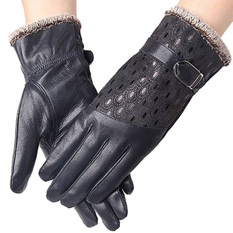 Women's Winter Gloves Fashion Warm Thicken Dot Pattern Peacock Genuine Leather Gloves High quality Mittens