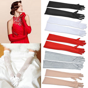 Satin Long Finger Elbow Sun protection gloves Opera Evening Party Prom Costume Fashion Gloves black red white grey women B2528b-modlily