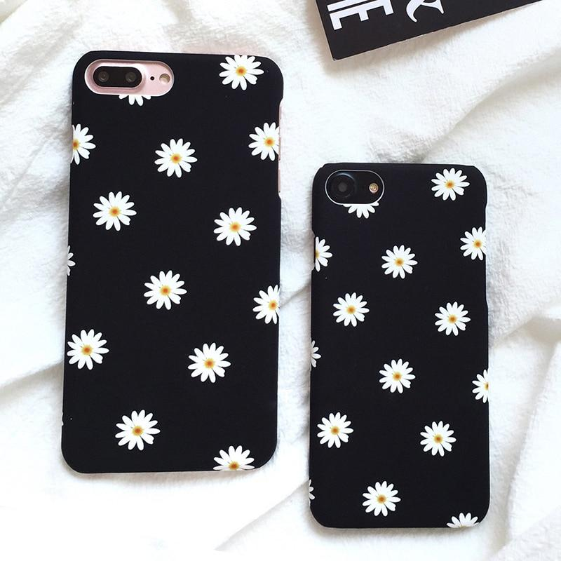 Ultra thin Frosted Cute Daisy Flower Case For iphone 7 Case Lovely Cartoon Floral Back Cover Hard Phone Cases For iphone7 7 Plus-modlily