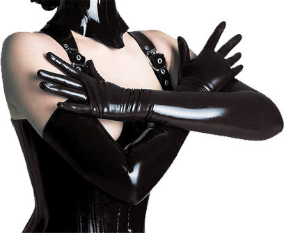Sexy Women Long Faux Leather Gloves Punk Gloves Sexy Hip-pop Jazz Outfit Mittens Culb Wear Eroticas Lingerie Full Finger-modlily