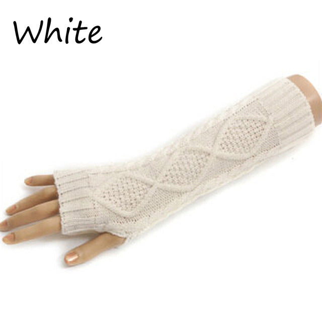 1 Pair Fashion Autumn Winter Spring Warm Women Ladies Girl Solid Gloves Arm Warmer Long Fingerless Knitting Wool Mittens-modlily
