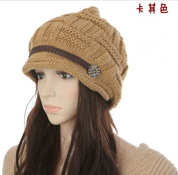 2015 Women Winter Knitted Beanies New Fashion Women's Hats Warm Black Lady's Caps Acrylic Woman's Headwear Hat For Female-modlily