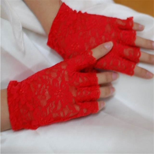 2016 Women vintage Amazing Goth Party sunscreen Sexy Dressy Lace Gloves anti-uv Mittens Fingerless Style-modlily