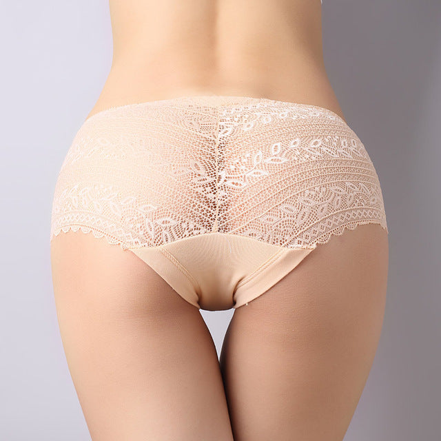 NEW! Hot sale l women's sexy lace panties seamless cotton breathable panty Hollow lady briefs plus size girl underwear-modlily