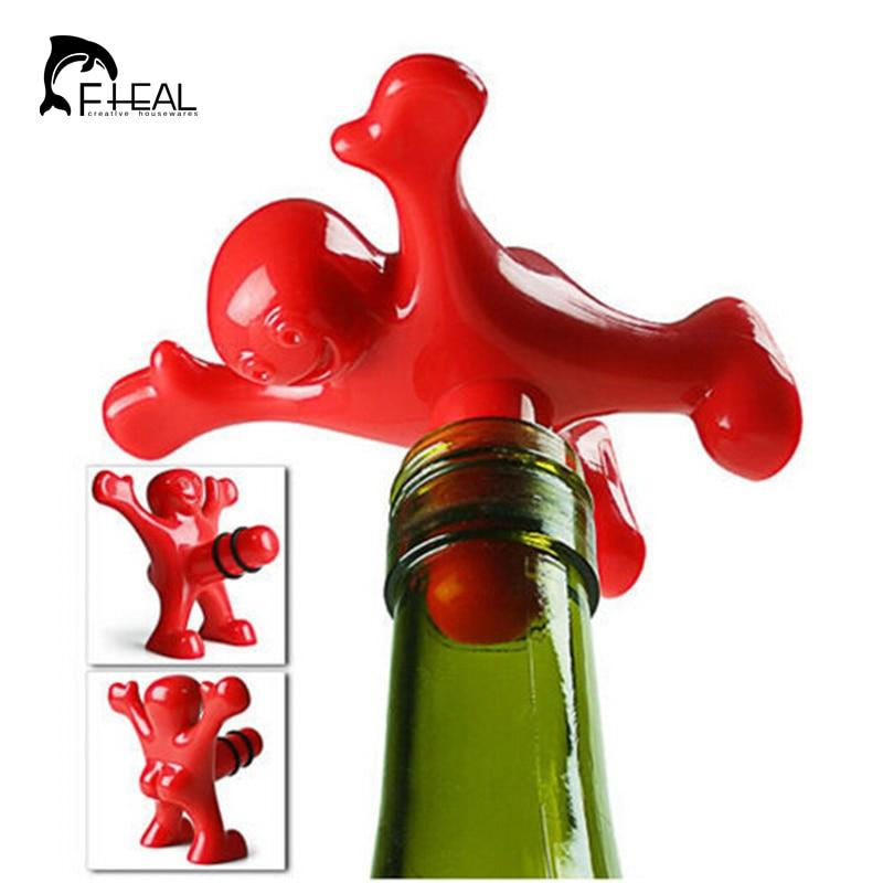 FHEAL 1pc Creative Bar Tools Happy Man Beer Soda Novelty Bottle Stopper Cork Wine Plug-modlily
