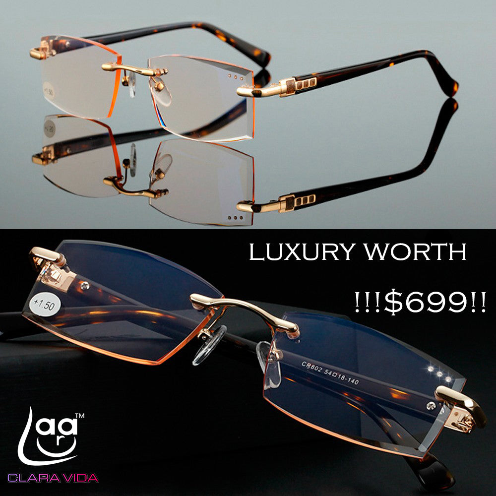CLARAVIDA Royal Luxury Men women unisex diamond cutted stylerish commercial dignity special reading glasses+1 +1.5 +2 +2.5 +3-modlily