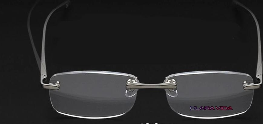 =Clara Vida= LIMITED AL-MG Alloy Rimless Reading Glasses Ultra light UV400 Anti-fatigue Lenses +2.0 +2.5 2.75 +3.0 +3.5 3.75-modlily