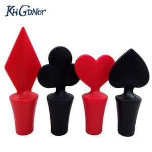 4Pcs Bar Tool Poker Shaped Silicone Vacuum Sealed Wine Bottle Stopper Kitchen Wine Champagne Stopper-modlily