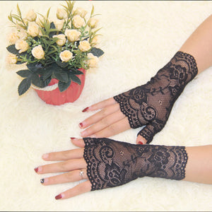 2016 Spring and Summer Women's Semi-finger Gloves Lady's Anti-uv Lace Gloves Female Driving Gloves-modlily