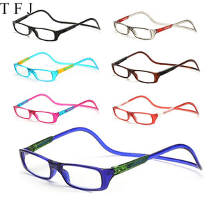 TFJ Magnetic Reading Glasses Men Women Clear Colorful Adjustable Hanging Neck presbyopic glasses +1.0 1.5 2.0 2.5 3.0 3.5 4.0-modlily