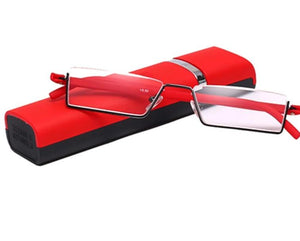 TR-90 Half Frame Slim Portable Black/Red/Brown Reading Glasses With Box +1.0 +1.5 +2.0 +2.5 +3.0 +3.5 +4.0-modlily