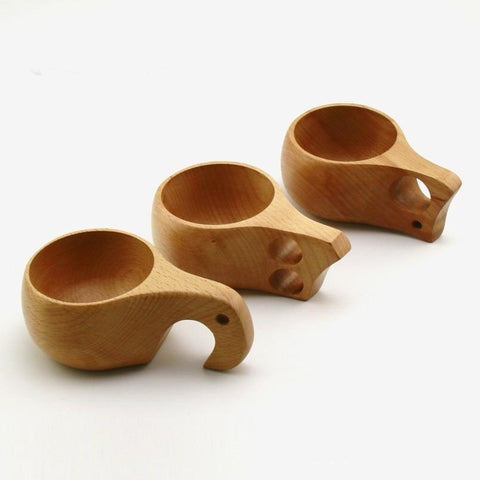 ZAKKA KUKSA Handmade Beech Wooden Cups Nordic style Finnish Traditional Outdoor Wood Wine Cups Elephant Coffee Tea Cups