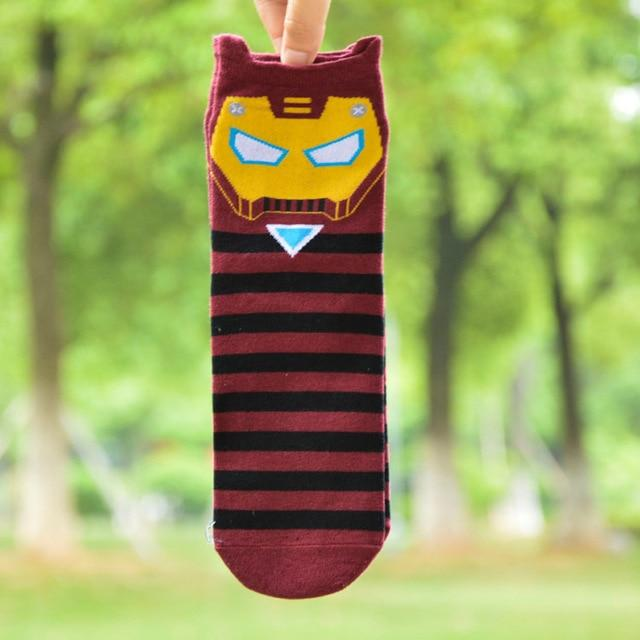 New Superheros Captain America Ironman Spiderman Cute Cartoon Casual ankle cotton socks slippers harajuku EUR39-44-modlily
