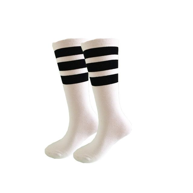 7 Colors Cotton Long Men and Women Socks 3 Line Striped Letter Fashion Socks TW5-modlily