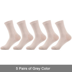 SANZETTI 5 pair/lot Men Bamboo Socks Solid Color Anti-Bacterial Comfortable Deodorant Breathable Business Man Dress Socks-modlily
