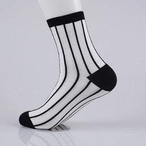Cheap Fashion Socks Men Cotton White Black Color Plaid Stripe Harajuku Dresss Socks-modlily