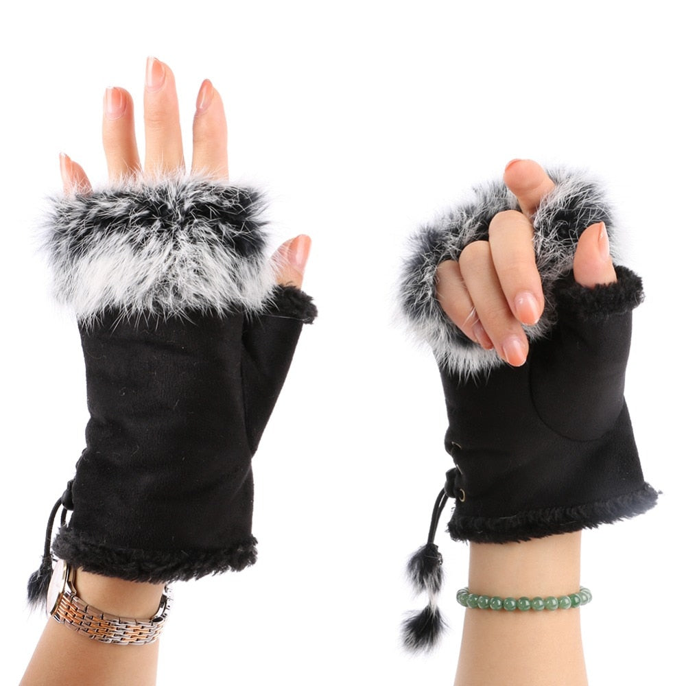 Unique Fashion Women's Faux Rabbit Fur Hand Wrist Warmer Half Finger Gloves Winter Glove 13 Colors-modlily