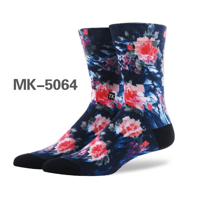 High-quality New men's fashion graffiti art socks color printing sprouting happy socks creative-modlily
