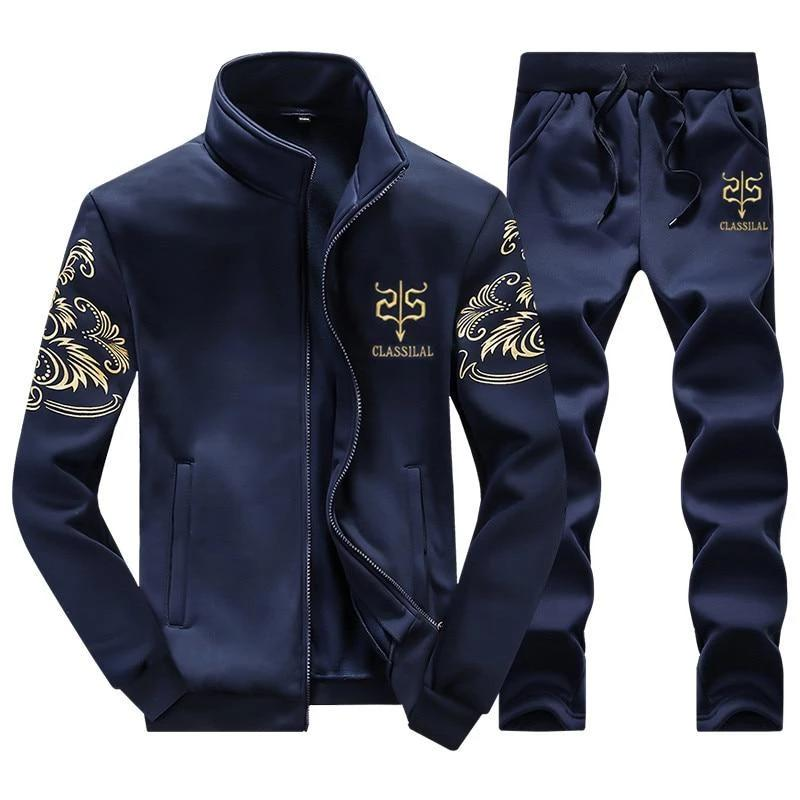 ASALI 2017 Men's Sportwear Suit Sweatshirt Tracksuit Without Hoodie Men Casual Active Suit Zipper Outwear 2PC Jacket+Pants Sets-modlily