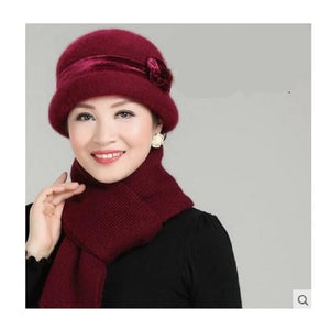 New Fashion Women Winter Hat Sets Floral Skullies Wool Mixed Rabbit Fur Warm Outdoor Knitted Beanies Baggy Headwear Cap-modlily