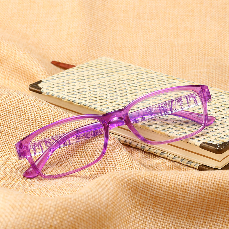 J N Fashion Colors Unbreakable Reading Glasses Women Men Ultralight Anti Fatigue Flower Temple Presbyopic Magnifier T18995-modlily
