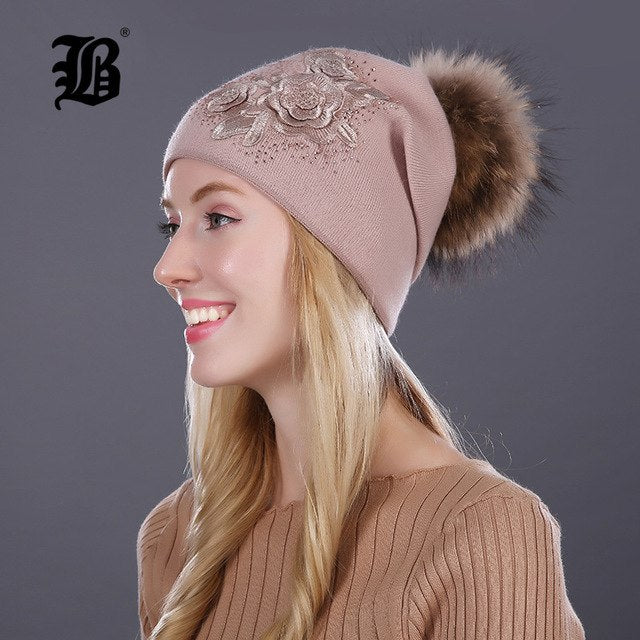 bbdf2a9e9af  FLB  Winter fur pompom hats for women cashmere wool cotton hat Big Real  Raccoon