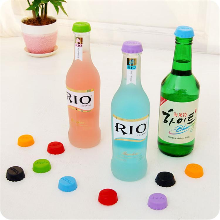 6pcs/lot New Kitchen multicolor Silicone Button Beer Wine Cork Stopper Plug Bottle Cap Cover Perfect Home Kitchen Tools-modlily