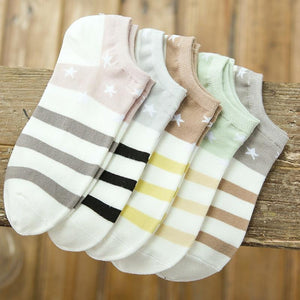 Cotton Boat Socks Woman Stars Stripe Socks ankle low female invisible color girl boy slipper casual hosiery 1pair=2pcs ws106-modlily
