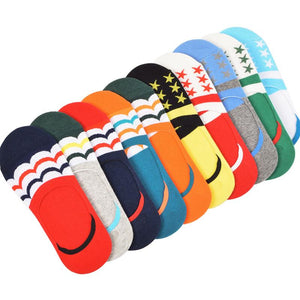New 5 Pairs Men Loafer Boat Invisible No Show Non-slip Liner Low Cut Cotton Stripe Socks Mix-color Men's Shallow Mouth Wear Sock-modlily