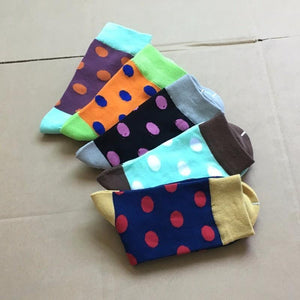 POENFLY 5 pairs/lot Colorful mens polka dots cotton crew socks business long happy sox harajuku designer pattern funny big size-modlily