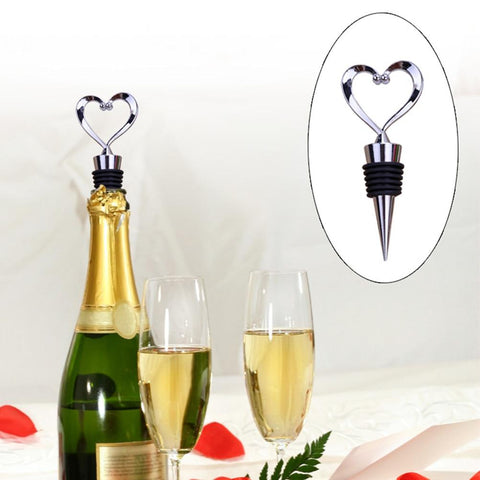Zinc Alloy Love Shape Wine Stopper Bottle Stoppers Champagne Cork Plug Corkscrew Wine Stocked Wedding Gifts Bartending Bar Tools-modlily