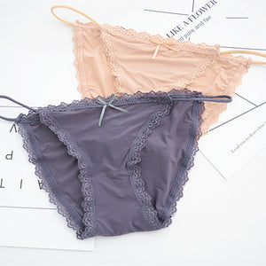 SP&CITY Fashion Summer Ice Silk Lace Panties Women Sexy Underwear Black Red Brazilian Panties Sex Solid Crotch Cotton Briefs-modlily