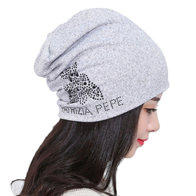 Quality Winter Womens Hats Black Rhinestone Letters Knitting Beanies for Women Men Hip Hop Baggy Gorros Bonnet Skullies-modlily
