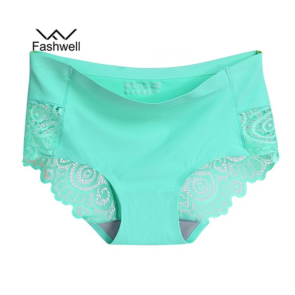 summer new Sexy Women's Panties ice silk Intimates seamless Lace Underwear plus size female Briefs-modlily